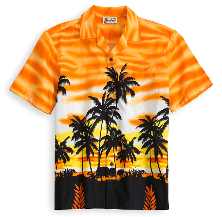 HSS119-Orange-Skyscape 100% cotton, 100% genuine Hawaiian Shirt