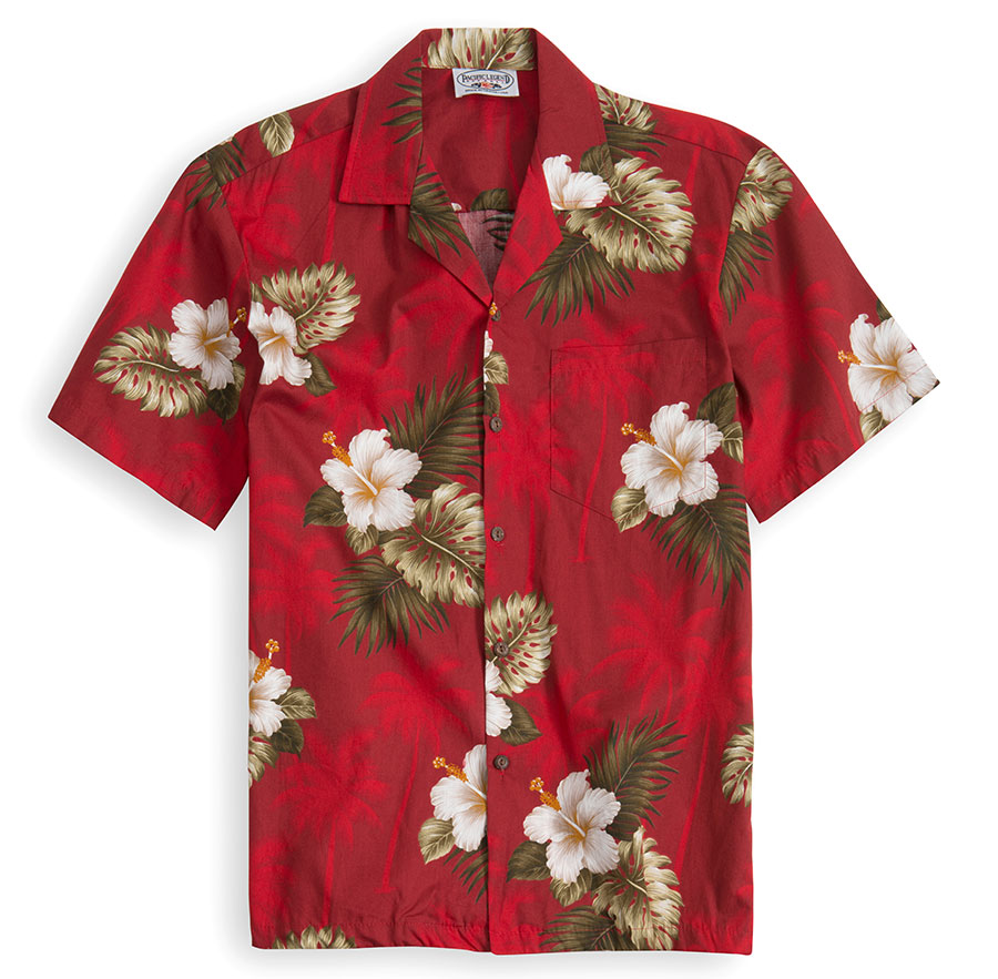 PLS214-Red-Palms 100% cotton, 100% genuine Hawaiian Shirt