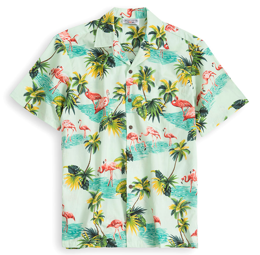 PLS225-Flamingo-Garden 100% cotton, 100% genuine Hawaiian Shirt