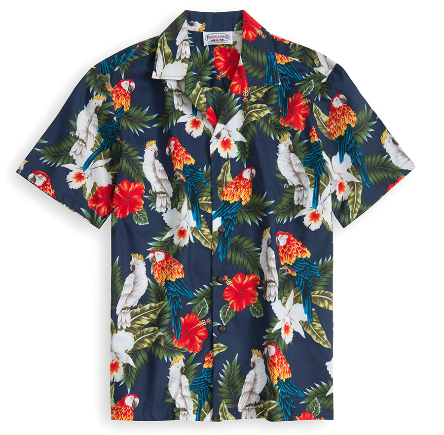 PLS231-Cockatoo 100% cotton, 100% genuine Hawaiian Shirt