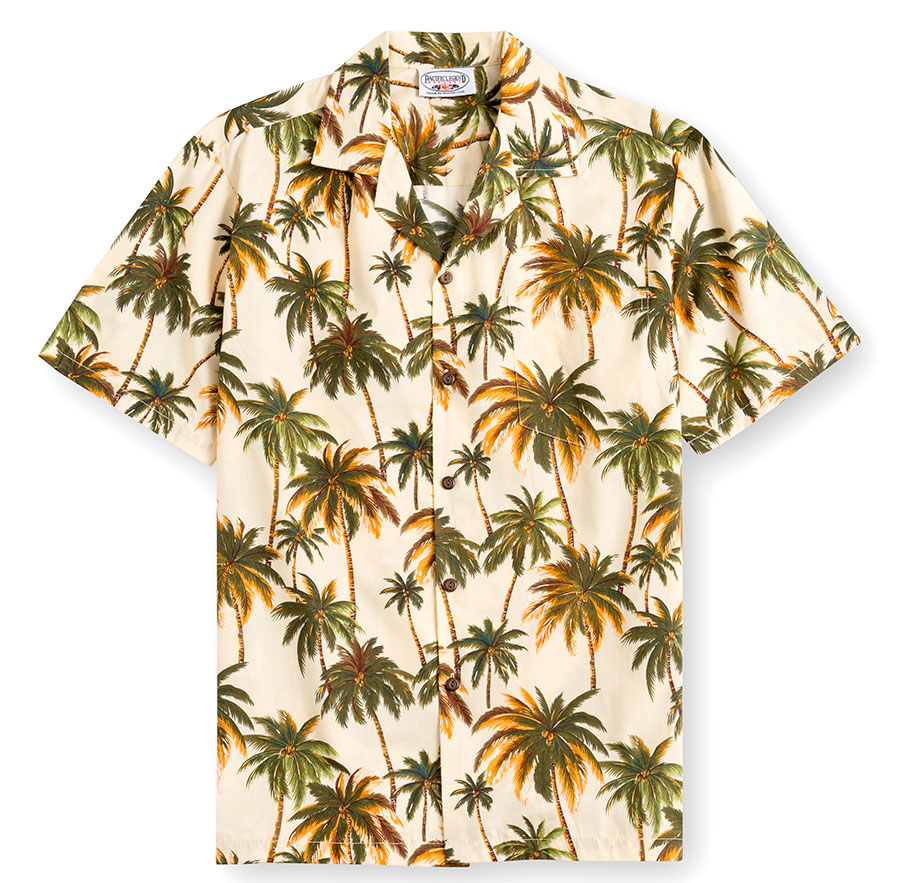 PLS235-Palm-Trees 100% cotton, 100% genuine Hawaiian Shirt