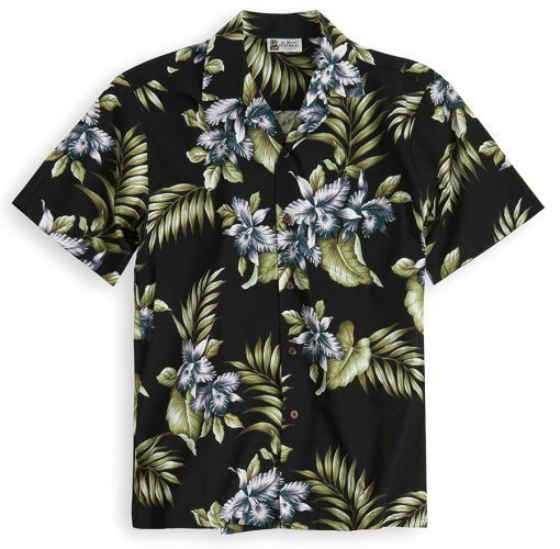 HSS106-Premium-Orchids-Black 100% cotton, 100% genuine Hawaiian Shirt