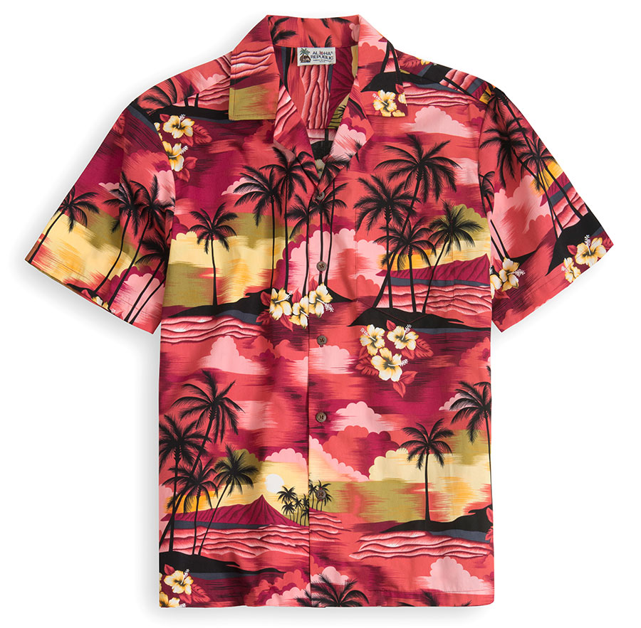 HSS107-Hawaiian-Sunset 100% cotton, 100% genuine Hawaiian Shirt