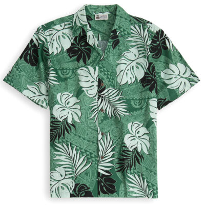 HSS110-Tapa-Glyphs 100% cotton, 100% genuine Hawaiian Shirt