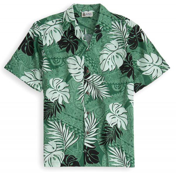 HSS110-Tapa-Glyphs 100% cotton, 100% genuine Hawaiian Shirt
