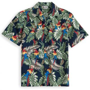 HSS111-Palms-&-Parrots 100% cotton, 100% genuine Hawaiian Shirt