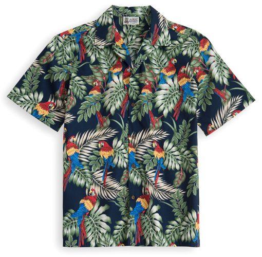 HSS111-Palms-&-Parrots 100% cotton, 100% genuine Hawaiian Shirt