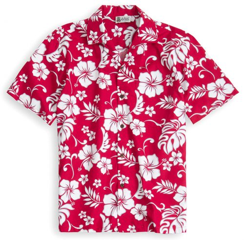 HSS113-Red-Hawaii 100% cotton, 100% genuine Hawaiian Shirt