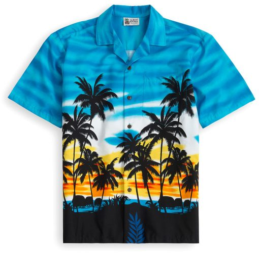 HSS114-Sky-Scraping-Palms 100% cotton, 100% genuine Hawaiian Shirt