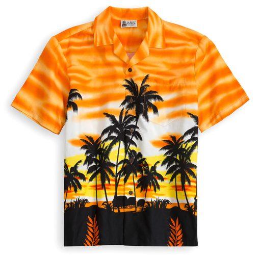 HSS119-Orange-Skyscape 100% cotton, 100% genuine Hawaiian Shirt