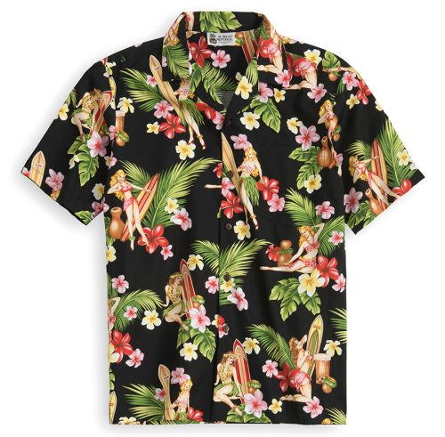 HSS134-Hula-Wahine 100% cotton, 100% genuine Hawaiian Shirt