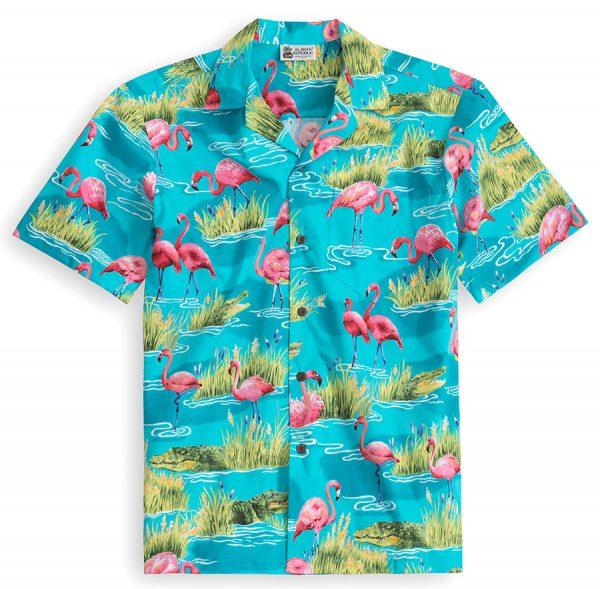 HSS140-Flamingo-Tropics 100% cotton, 100% genuine Hawaiian Shirt