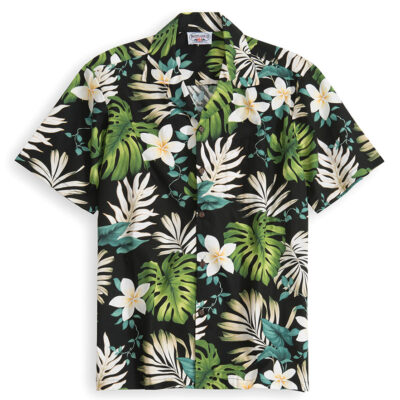 PLS205-Black-Ilima 100% cotton, 100% genuine Hawaiian Shirt