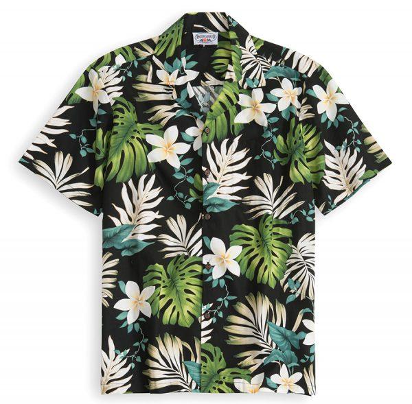 PLS205-Black-Ilima 100% cotton, 100% genuine Hawaiian Shirt
