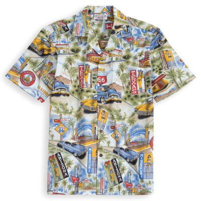 PLS207-Route-66 100% cotton, 100% genuine Hawaiian Shirt