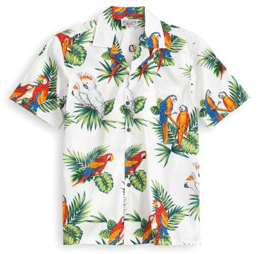 PLS209-Paradise-Birds-White 100% cotton, 100% genuine Hawaiian Shirt