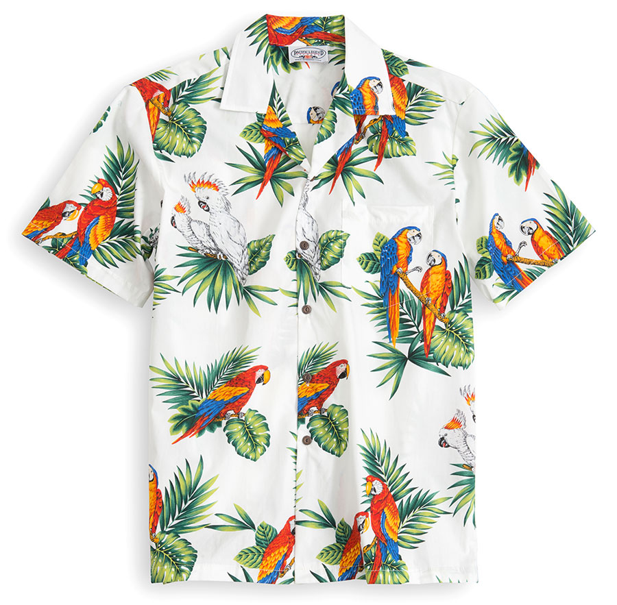 PLS209-Paradise-Birds-White 100% cotton, 100% genuine Hawaiian Shirt