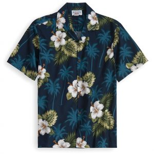 PLS213-Blue-Palms 100% cotton, 100% genuine Hawaiian Shirt