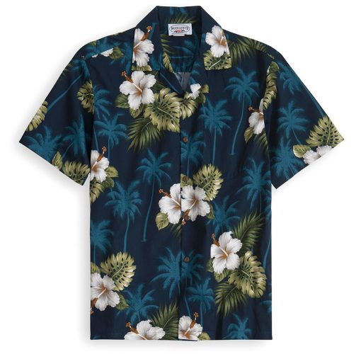 PLS213-Blue-Palms 100% cotton, 100% genuine Hawaiian Shirt