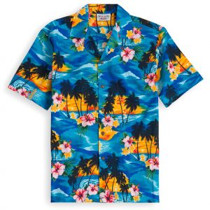 PLS215-Maui-Blue 100% cotton, 100% genuine Hawaiian Shirt