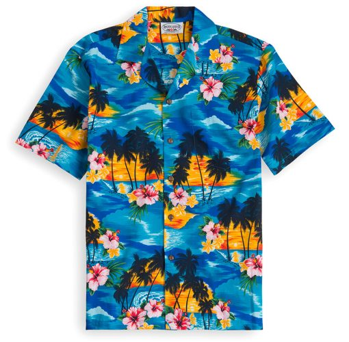 PLS215-Maui-Blue 100% cotton, 100% genuine Hawaiian Shirt