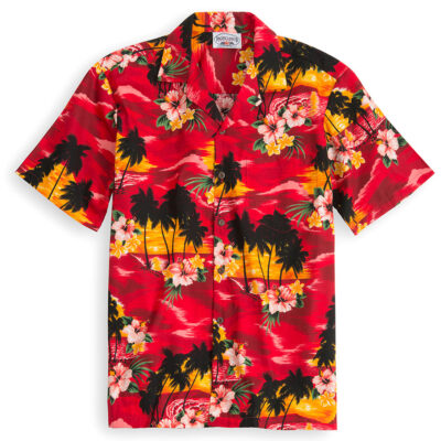 PLS216-Maui-Red 100% cotton, 100% genuine Hawaiian Shirt