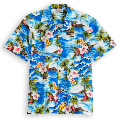 PLS217-Palm-Beach 100% cotton, 100% genuine Hawaiian Shirt