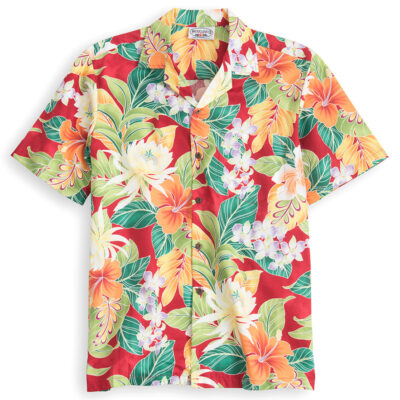 PLS223-Happy-Hibiscus 100% cotton, 100% genuine Hawaiian Shirt