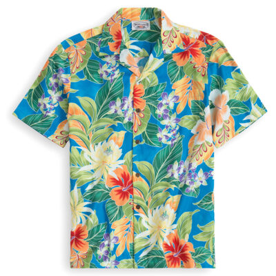 Hibiscus Blues Hawaiian Shirts at The Hawaiian Shirt Shop, UK