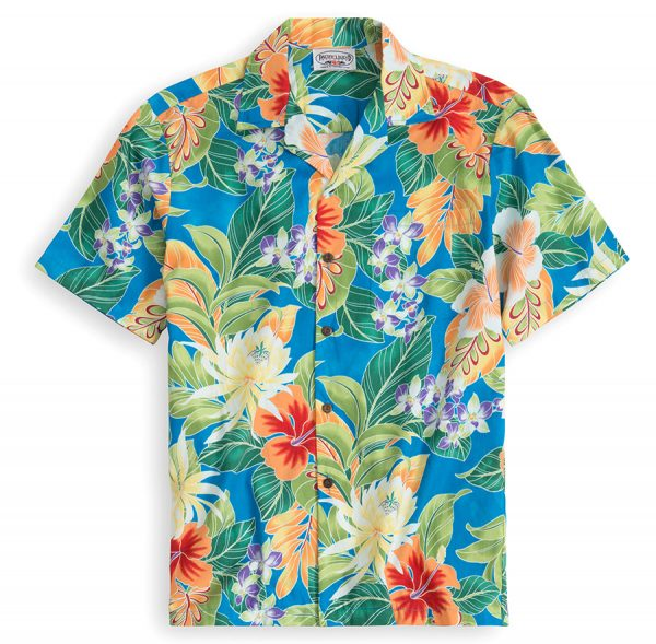 PLS226-Hibiscus-Blues 100% cotton, 100% genuine Hawaiian Shirt