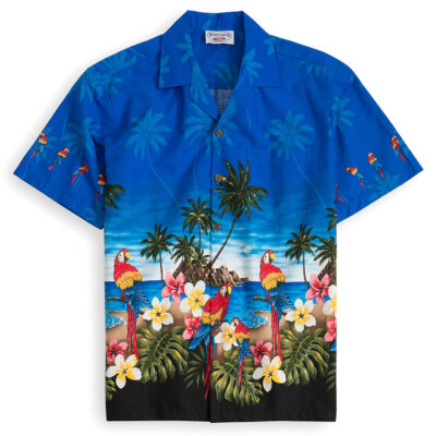 PLS227-Parrot-Beach-Blue 100% cotton, 100% genuine Hawaiian Shirt