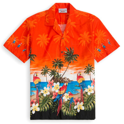 PLS228-Parrot-Beach-Orange 100% cotton, 100% genuine Hawaiian Shirt
