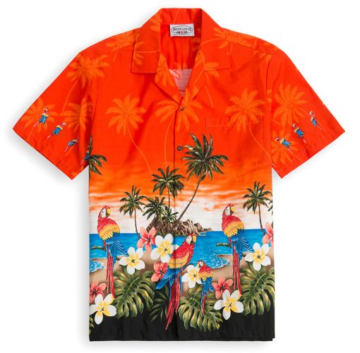 PLS228-Parrot-Beach-Orange 100% cotton, 100% genuine Hawaiian Shirt