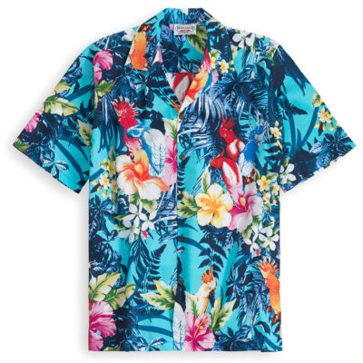 PLS229-Aqua-Palm 100% cotton, 100% genuine Hawaiian Shirt