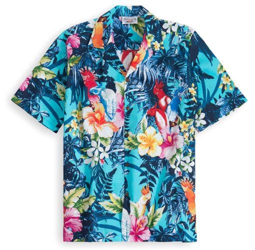 PLS229-Aqua-Palm 100% cotton, 100% genuine Hawaiian Shirt