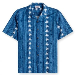 PLS232-Palm Bay Navy 100% cotton, 100% genuine Hawaiian Shirt