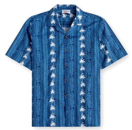 PLS232-Palm Bay Navy 100% cotton, 100% genuine Hawaiian Shirt