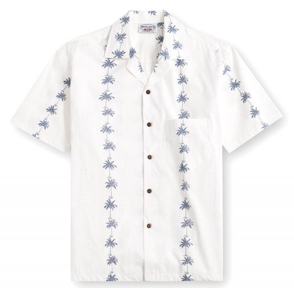 PLS233-Palm-Bay-White 100% cotton, 100% genuine Hawaiian Shirt