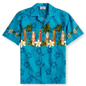PLS238-Blue-Alaia 100% cotton, 100% genuine Hawaiian Shirt