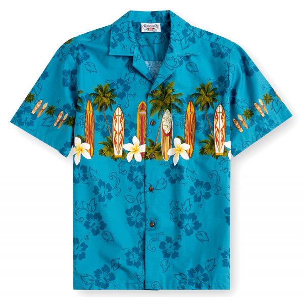PLS238-Blue-Alaia 100% cotton, 100% genuine Hawaiian Shirt