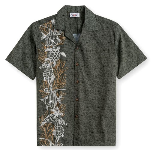 PLS239-Coral-Creatures 100% cotton, 100% genuine Hawaiian Shirt