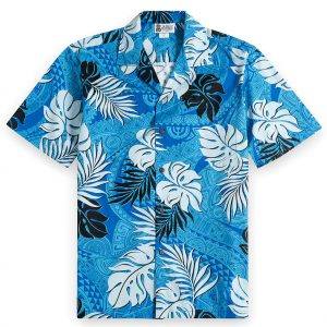HSS144-Tapa-Glyphs-Blue 100% cotton, 100% genuine Hawaiian Shirt