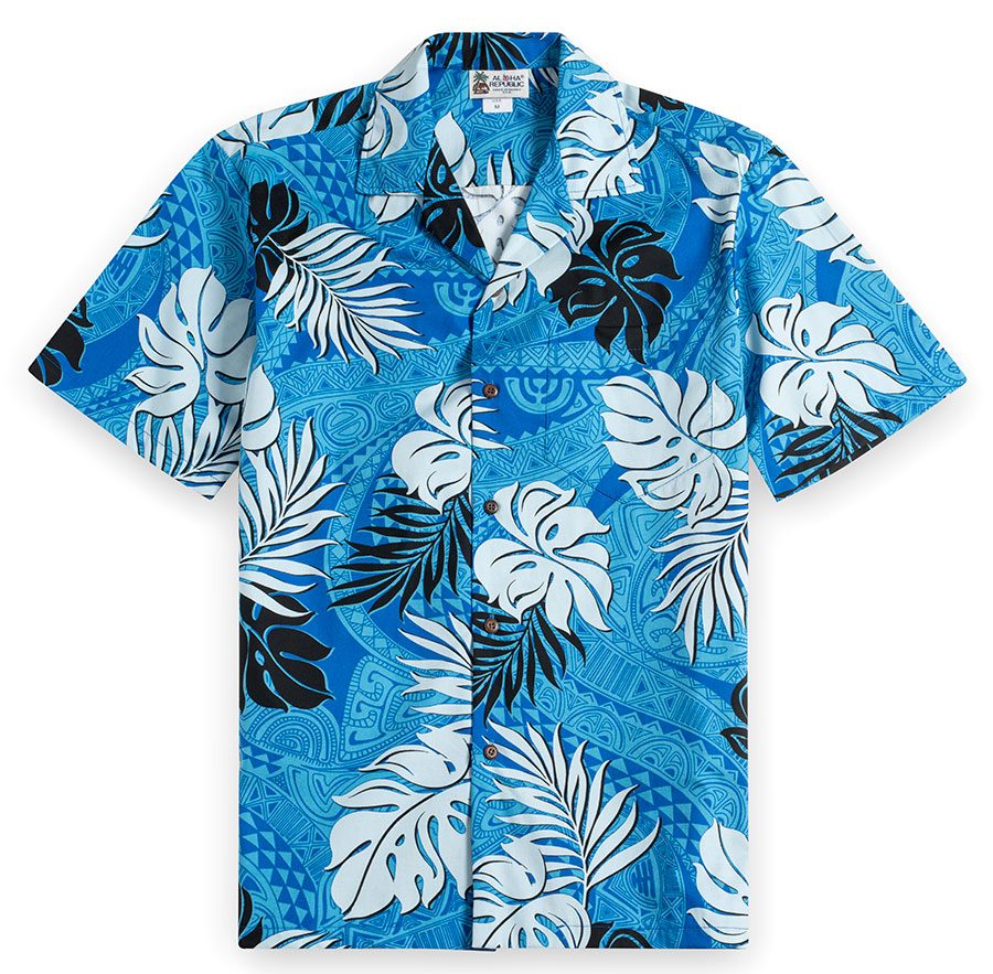 Tapa Glyphs blue Hawaiian Shirt at The Hawaiian Shirt Shop, UK