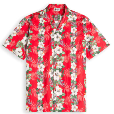 HSS145-Hawaiianese-Red 100% cotton, 100% genuine Hawaiian Shirt