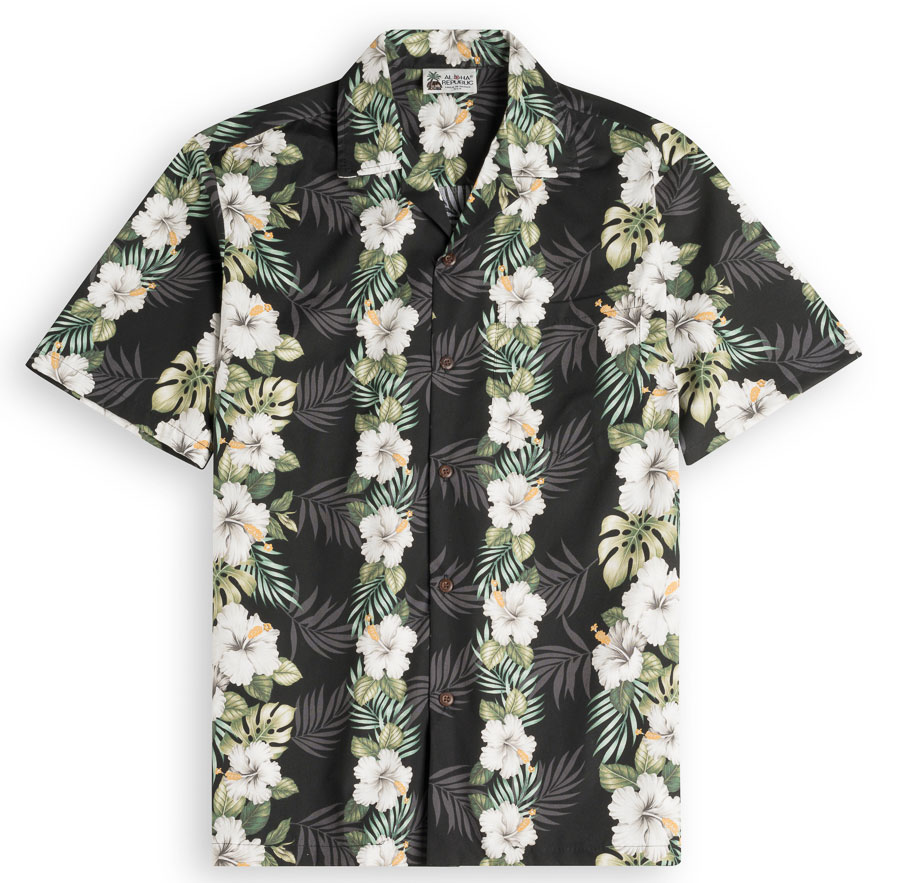 Hawaiianese Black Mens Hawiian Shirt 100% cotton