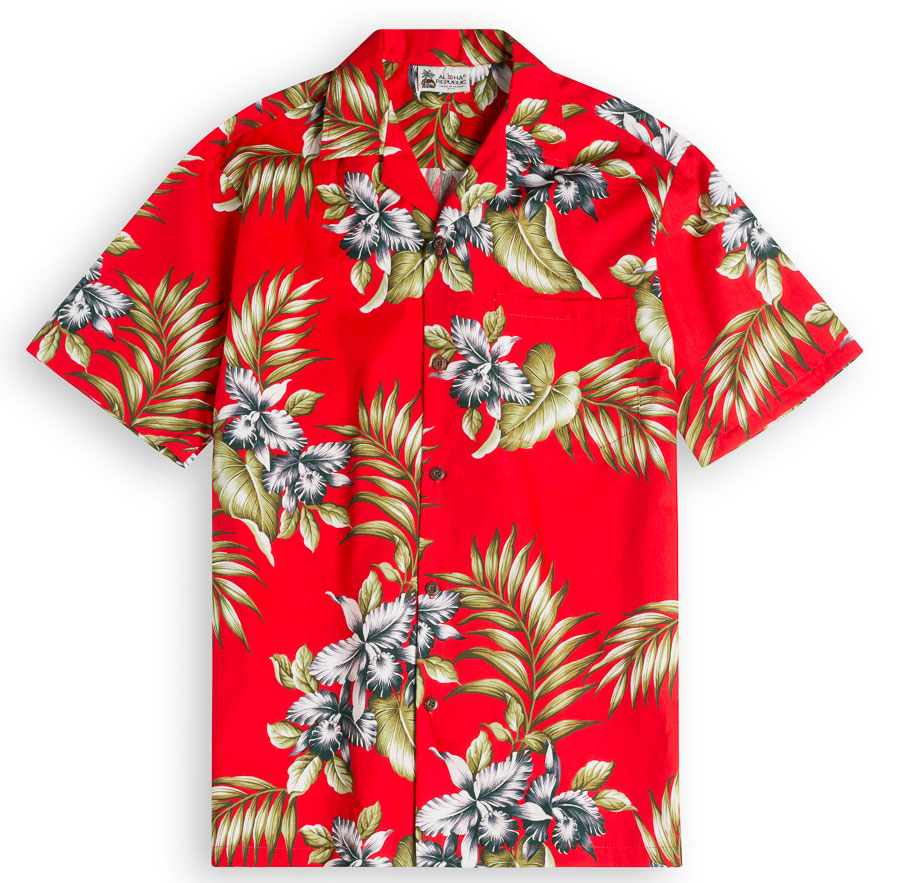 Premium Orchids (red) Mens Hawiian Shirt 100% cotton
