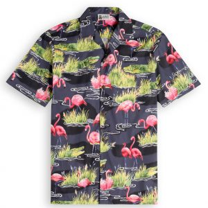 Flamingo Night Mens Hawiian Shirt 100% cotton