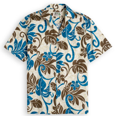 Lanai Palms (blue) Mens Hawiian Shirts 100% cotton