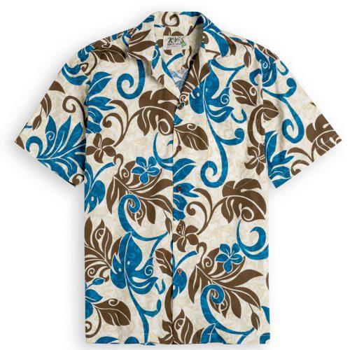 KYS301 Lanai Palms Blue 100% cotton, 100% genuine Hawaiian Shirt