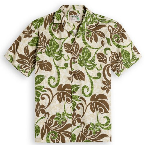 KYS302 Lanai Palms Green 100% cotton, 100% genuine Hawaiian Shirt